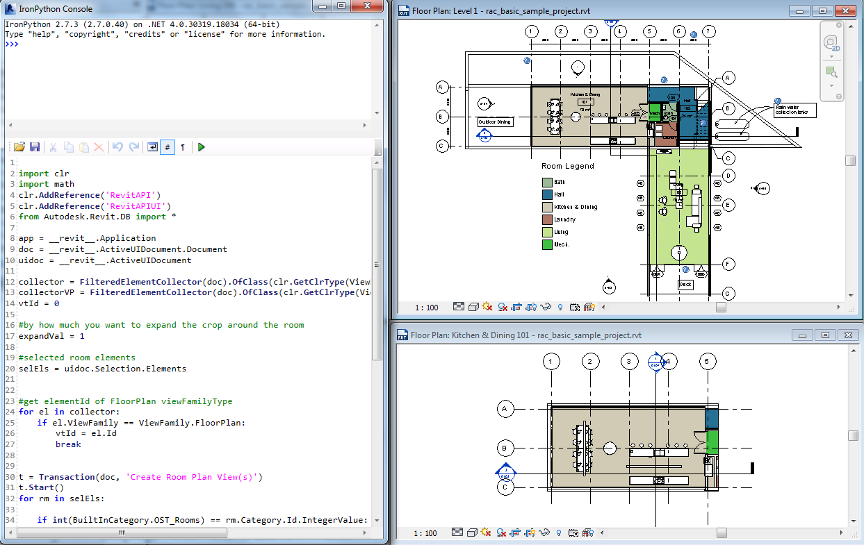 Create revit room plans with python shell and revit api Create a room plan